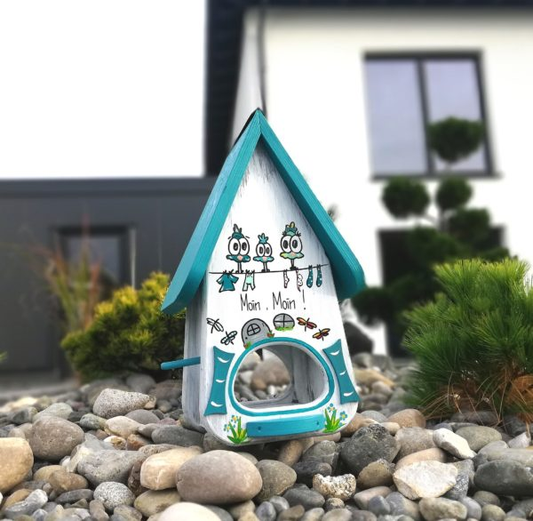 Vogelhaus, Futterhaus, Nistkasten aus Holz handbemalt als personalisiertes Geschenk