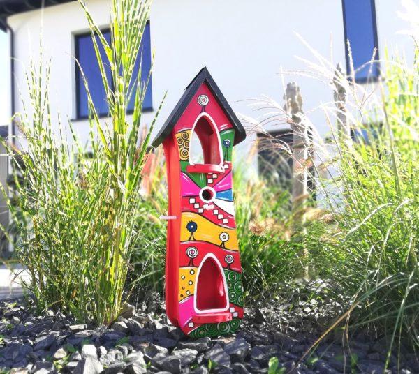 Hundertwasser Vogelhaus Vogelvilla Kunst Acryl Geschenk Jubiläum