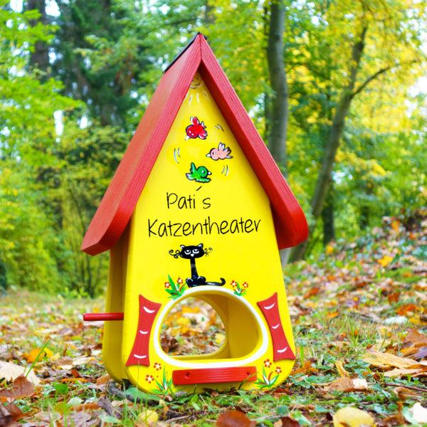 Vogelvilla, Futterhaus, Vogelhaus aus Holz handbemalt mit Name als Geschenk