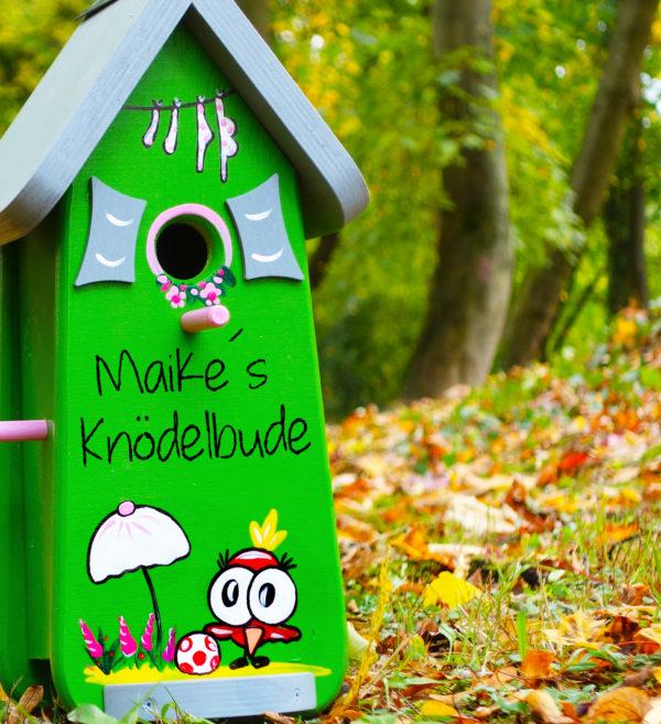 Vogelhaus, Nistkasten klein aus Holz handbemalt mit Name & Motiv als Geschenk