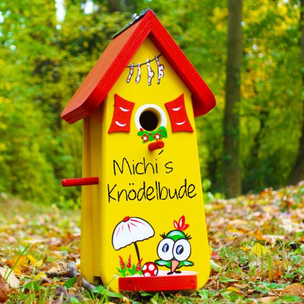 Vogelvilla, Nistkasten klein aus Holz handbemalt mit Name & Motiv als Geschenk