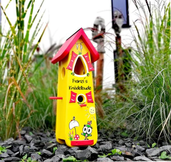 Vogelvilla, Nistkasten groß aus Holz handbemalt mit Name & Motiv