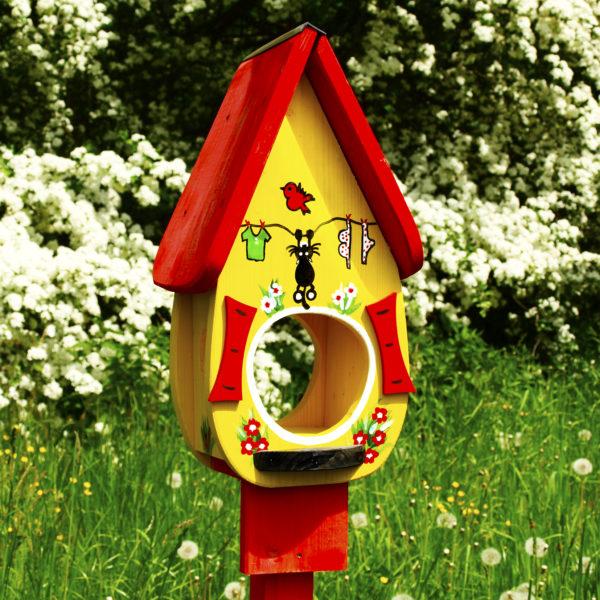 Vogelvilla Futterhaus katze gelb