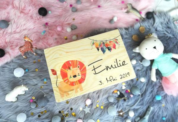 Erinnerungskiste Löwe fürs baby Geschenk zur Geburt und Taufe