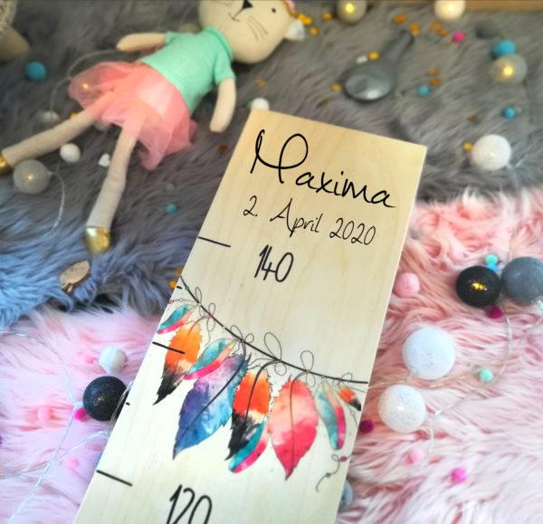 Kindermesslatte Boho Style Kinderzimmer personalisiertes Geschenk zur Geburt