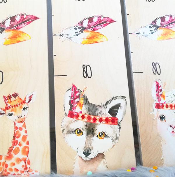 Kindermesslatte Wolf Geschenk zur Geburt und Taufe Boho Style Kinderzimmer
