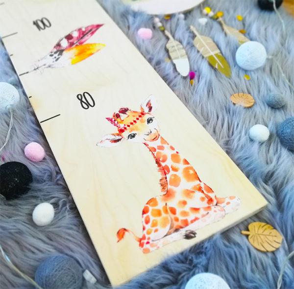 Kindermesslatte Giraffe Geschenk zur Geburt und Taufe Boho Style Kinderzimmer