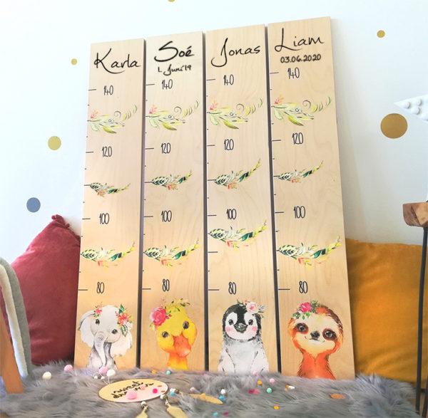 Kindermesslatte Ente Pinguin Elefant Geschenk zur Geburt und Taufe Boho Style Kinderzimmer